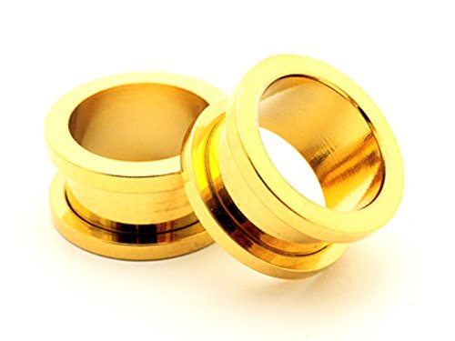 24k Gold Anodized Over 316l Surgical Steel Screw-on Gauges/plugs/tunnels Nickle Free (1 Pair) Different Sizes Available (1/2