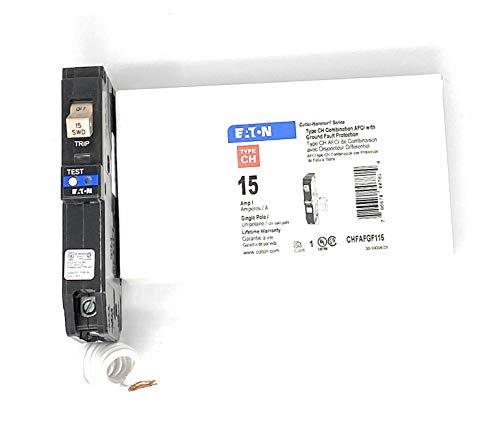 Eaton Cutler Hammer 15 Amp Single Pole Dual Function Arc Fault/Ground Fault Breaker