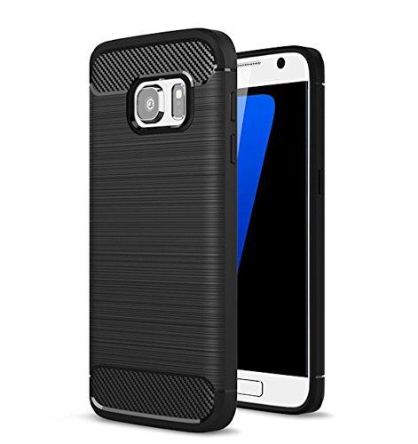 Bounceback Shockproof Carbon Fiber Design Soft TPU Back Case/Cover for Samsung Galaxy S7 Edge  Black