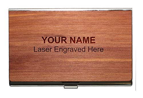 Personalized Wooden Business Card Holder, Stainless-Steel & Real Wood Cedar ()