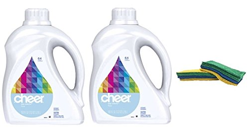 (Cheer HE Liquid Detergent - 100 oz - Free & Gentle (2) With FREE Microfiber Cloth)