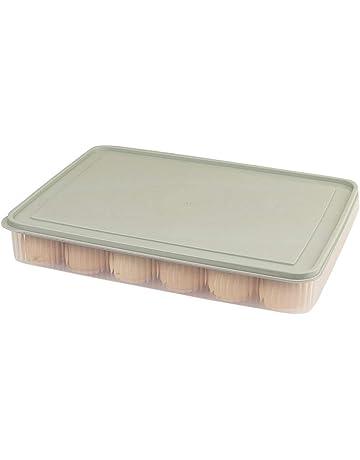 BESTONZON 24 recipiente de huevos con tapa de plástico portátil huevo titular, apilable bandeja de