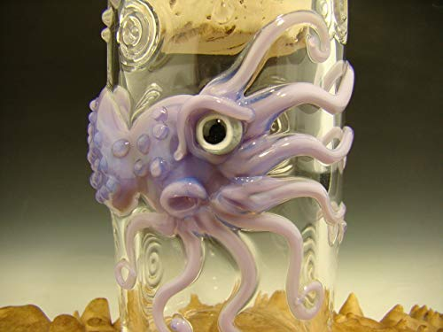 Hand Blown Octopus Glass Jar Lavender Flameworked by Eli Mazet (Ready to Ship).
