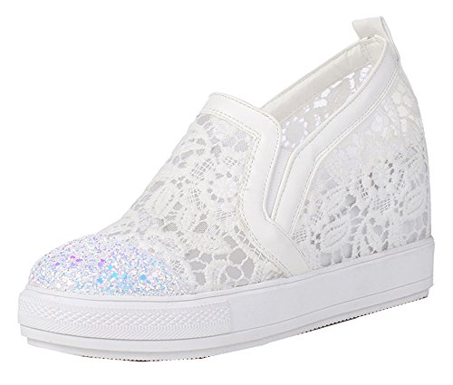 SHOWHOW Womens Classic Sequins Mesh Hidden Mid Heels Sneakers White 65H2tpba88