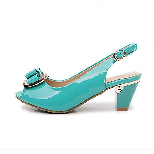 Blue US B 1TO9 Gold Bowknot Patent 4 Leather Peep M Toe Sandals Spun Womens wfRfOnYq