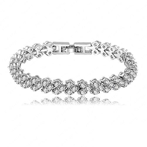 Gibson Platinum Plates - KnSam Women Platinum Plate Chain Bracelet Flower Crystal Rhinestone [Novelty Bracelet]