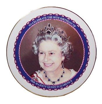 Queen Elizabeth 80th Birthday - Bone China Commemorative Plaque-Queen Elizabeth 11 80th Birthday 2006