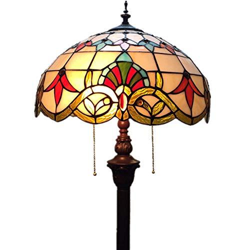 (XNCH Tiffany Style Floor Lamp, 22-inch Baroque Handmade Stained Glass Floor Lamp, European Luxury Living Room Bedroom Study Floor LightE27×3, E12X1)