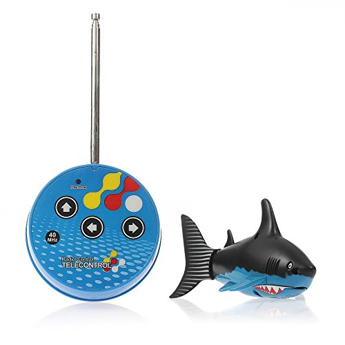 eSmart Rc Radio Remote Control Mini Electrical Shark Fish Kids Water Game Toy Children Gift (Blue & Black) -