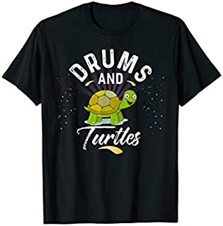 Drums And TURTLES   for Drummer T-shirt   Size S - 5XL