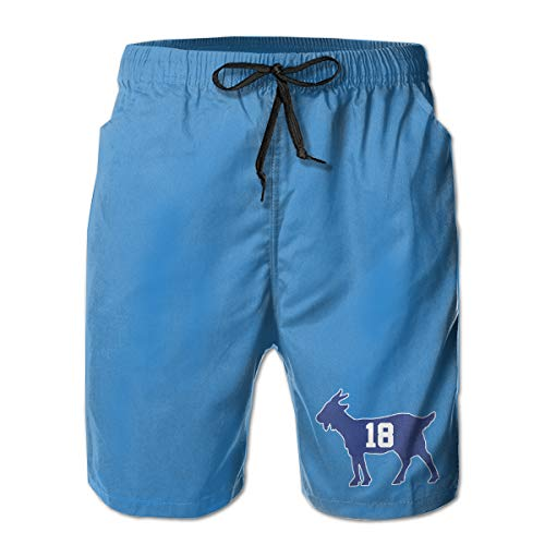 Men's Swim Trunks Quick Dry Blue Indianapolis Manning Goat Surfing Beach Board Shorts with Side Pockets ()