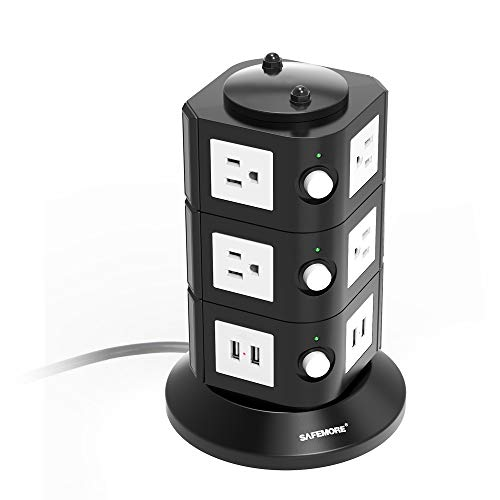 Safemore Power Strip Surge Protector AWG14 6.5ft Long Extension Cord 4-USB Charger 10 AC Socket Multi USB Outlet ETL Listed Power Plug for Computer, Office and Home Use White Black