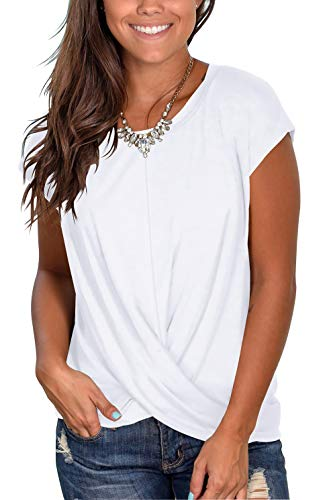 Casual T-Shirt for Ladies Summer Beach Tops with Front Twist Crew Neck Tunic White S
