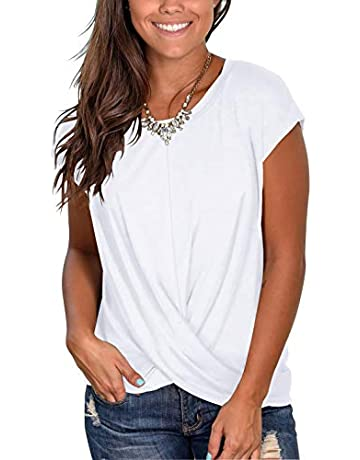 8845f4d54d4 Jescakoo Women's Short Sleeve Round Neck T Shirt Front Twist Tunic Tops  Casual Loose Fitted