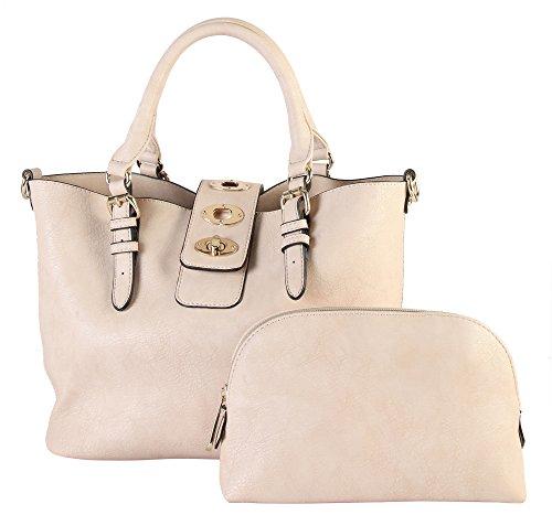 Leather Hobo Patent Large (Rimen & Co. Faux Fashion PU Leather Large Hobo Tote Shoulder Handbag Diaper bag Women's Purse Bag in Bag 85797 (Beige))