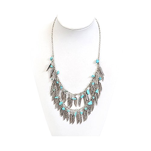 Antiqued Silver Feather Fringe Necklace with Turquoise Nugget Stones