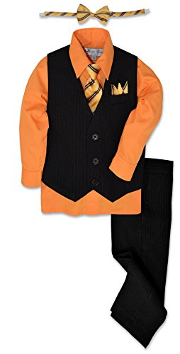 Johnnie Lene JL40 Pinstripe Boys Formal Dresswear Vest Set (14, Black/Orange) ()