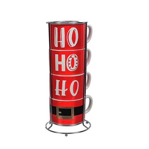 Stacking Coffee Mug Cup - DEI 14oz Ho Ho Ho Stacking Mug Set
