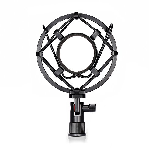 Neewer Black Universal Microphone Shock Mount Holder Clip Anti Vibration Suspension High Isolation with for Studio Condenser Mic, Idea for Radio Broadcasting Studio, Voice-over Sound Studio and Recording (Accessories Mic)
