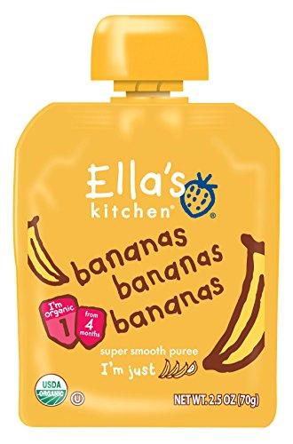 Ella's Kitchen 4+ Months Organic Baby Food, Bananas Bananas Bananas, 2.5 oz. (Pack of 6)