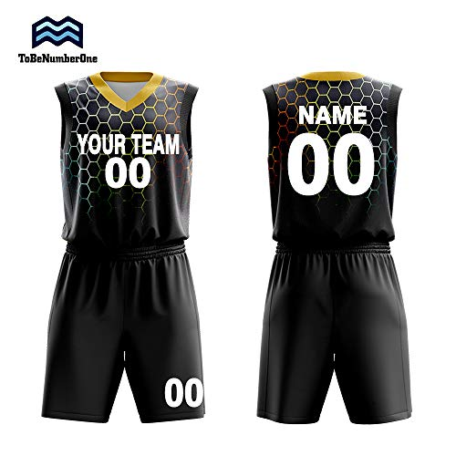Custom Basketball Jerseys Set for Men Sportswear- Make Team Uniform Print Team Name,Number and Your Name. (L, Black)