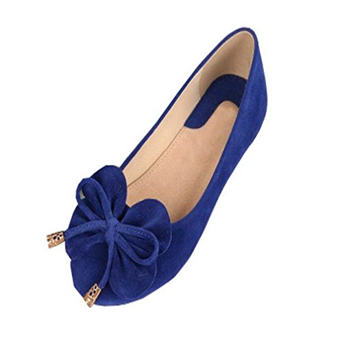 Aalardom Femmes Pull-on À Bout Rond Talon Sans Talon Chaussures Plates Frosted-chaussures Bleues
