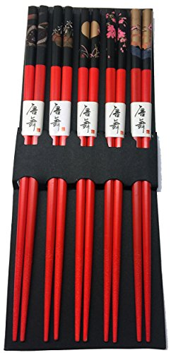 JapanBargain 3673 Bamboo Chopstick, 9 inches, Red