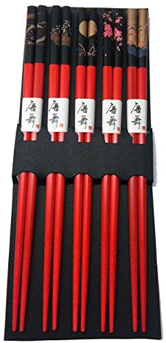 JapanBargain Brand 5 Pair Bamboo Chopsticks Gift Set Crane Design (Design Chopsticks)