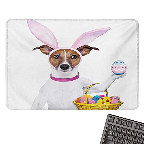 Easterlarge Mouse padDog Dressed up as Easter Bunny Holding a Basket of Eggs Funny Animal IllustrationComfortable Mousepad 15.7