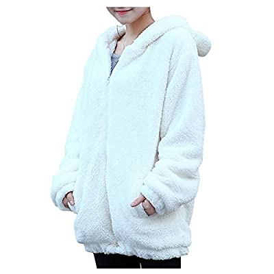 ELINKMALL Women Warm Cute Cartoon Bear Ear Hoodie Baggy Outerwear Jacket Coat