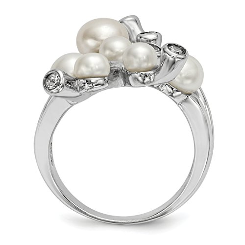 ICE CARATS 925 Sterling Silver Rh 4 7mm Wt Button Freshwater Cultured Pearl Cubic Zirconia Cz Band Ring Size 7.00 Fine Jewelry Gift Set For Women Heart by ICE CARATS (Image #3)