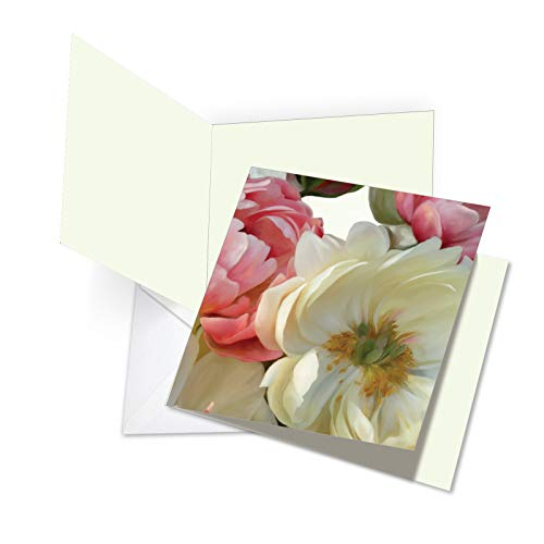 JQ4606ATYG Jumbo Thank You Square-Top Card: Peony Passion Featuring Images of Beautifully Textured Peonies in Full Bloom with Envelope (Extra Large Size: 8.5
