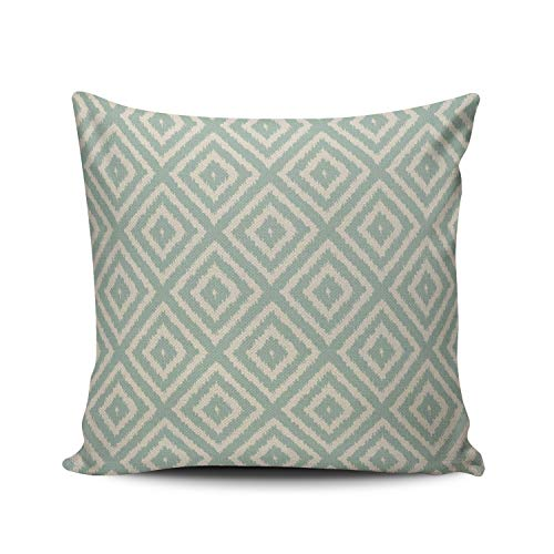 XIUBA Throw Pillow Covers Case Ikat Diamond Pattern in Seafoam Green Cream Decorative Pillowcase Cushion Cover 26 x 26 inch European Size One Side Design Printed