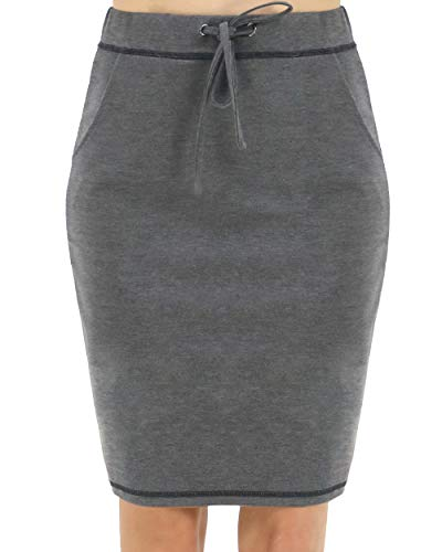 - BENANCY Women's High Waist Stretch Pencil Skirt with Pockets Charcoal XL
