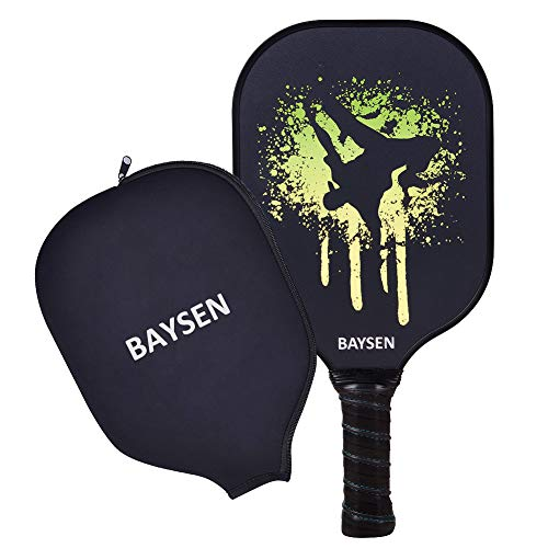 BAYSEN Pickleball Paddle,Graphite Lightweight Pickleball Rackets 8oz Honeycomb Composite Core Edge Guard Ultra Cushion Grip Pickleball Racquet Paddles Cover