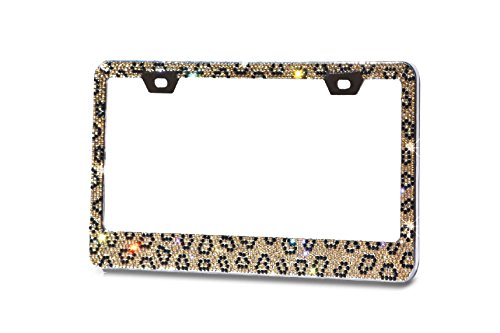Pure Handmade Shining 13 Rows (Max-1377 crystals) Brown Leopard Designed Crystal Encrusted Over The Chrome Coating Metal License Plate Frame with Free Caps