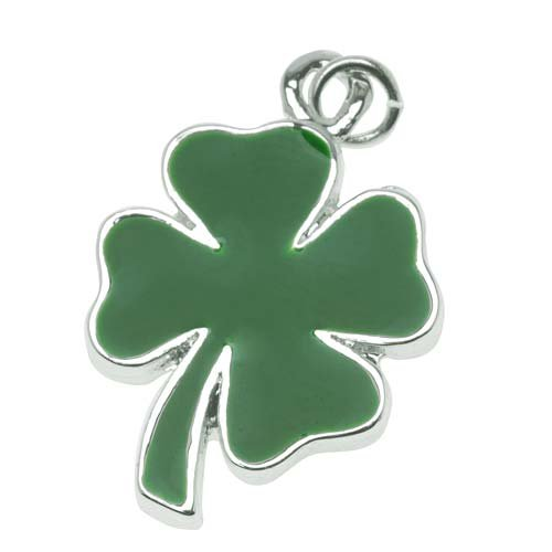 Delight Beads Silver Plated Two Sided Green Four Leaf Clover Shamrock Charm 22mm - Charms Beads Leaf