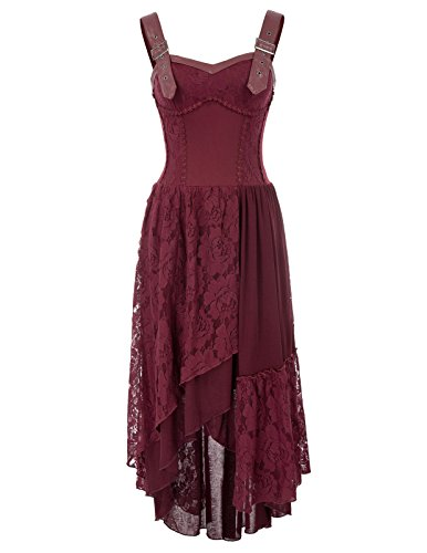 Women Retro Gothic Lace Dress Victorian Sleeveless Irregular