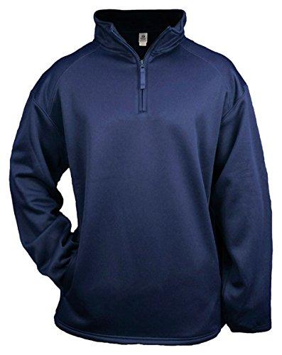 Badger 1/4 Zip Poly Fleece Pullover - White - 2XL