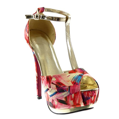Angkorly Women's Fashion Shoes Sandals Pump Court Shoes - Stiletto - Peep-Toe - Platform - Fantasy - Flashy - Shiny Stiletto High Heel 15.5 cm Pink BSQXE