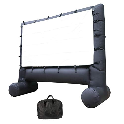 Houseables Projector Screen, Inflatable Outdoor Movie TV, 8.5', 3.5', 10', 1 Pack, Black, Large, Polyester, Portable, Blow Up, Inflatables, for Parties, Movies, Backyard Theater, Family, Includes -