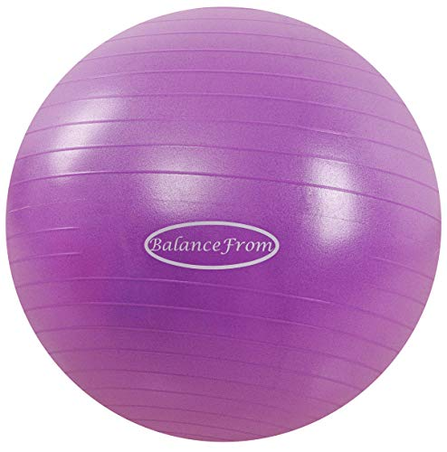 BalanceFrom Anti-Burst and Slip Resistant Exercise Ball Yoga Ball Fitness Ball Birthing Ball with Quick Pump, 2,000-Pound Capacity (58-65cm, L, Purple)