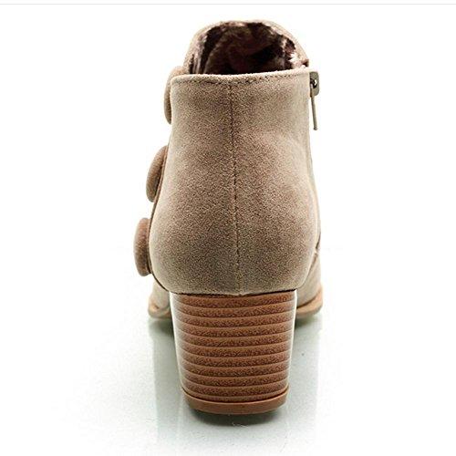 XIAOGANG H HFour Seasons Women (negro.) Marrón. (beige) botón matorral grueso talón botas cortas de goma resistente al desgaste antideslizante, brown, 40