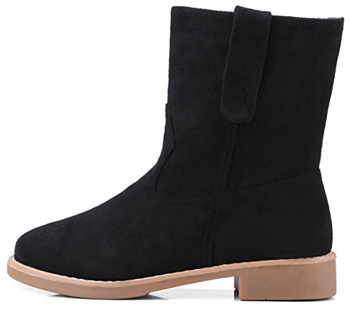 Booties Suede High On Chunky Heeled Pull Easemax Ankle Faux Black Low Women's Round Toe Dressy O7xxqRCAwt