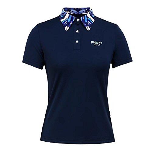 Kayiyasu ゴルフシャツ レディース ゴルフウェア ポロシャツ 半袖 女性用 021-xsty-yf080(XL ネイビー)