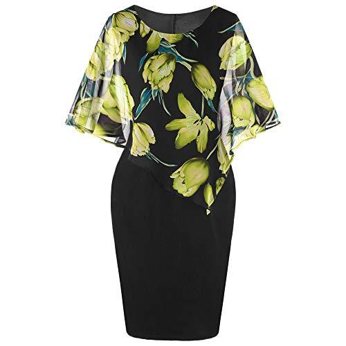 Quealent Fashion Elegant Women Dress Casual Plus Size 5XL Rose Print Chiffon O-Neck Ruffles Mini Party Dresses