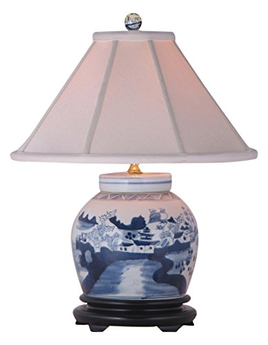 East LPNJ088A Table Lamp, Blue/White