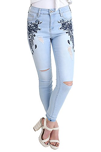 Umgee Floral Embroidered Distressed 5 Pocket Stretch Skinny Jean Raw Hem Light Denim (27) ()