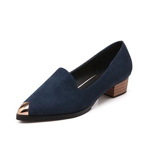 AalarDom Womens Imitated Suede Pull On Pointed Closed Toe Low-Heels Pumps-Shoes Blue FiQjXMjPhL