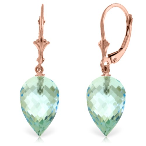 (14k Rose Gold Leverback Dangle Earrings with Pointy Briolette Natural Blue Topaz Drops)